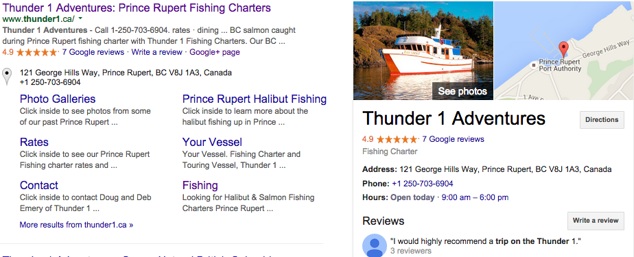Google Reviews of Prince Rupert Fishing Charter